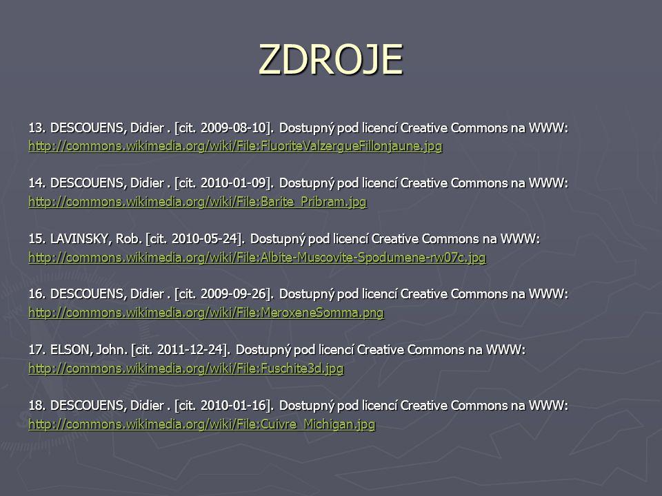 ZDROJE 13. DESCOUENS, Didier . [cit. 2009-08-10]. Dostupný pod licencí Creative Commons na WWW: